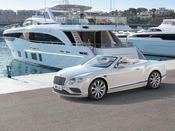 Bentley GTC Yacht CGI On docks infront of yacht