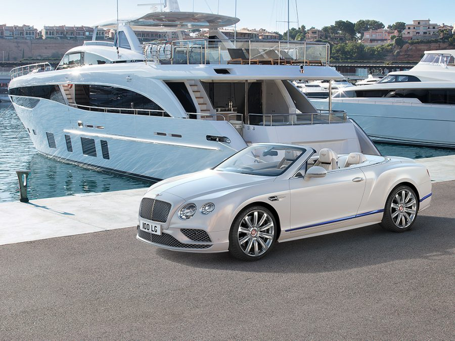 Bentley GTC Yacht CGI On docks infront of yacht