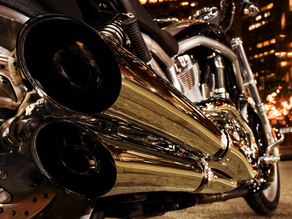 Retouched Harley-davidson exhaust pipe