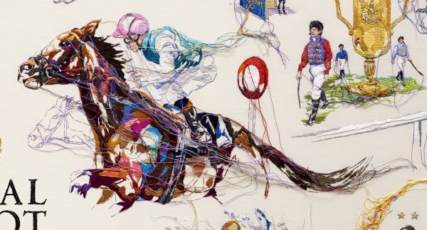 Retouched Royal Ascot embroidery of horseriders food chefs and fashion closeup
