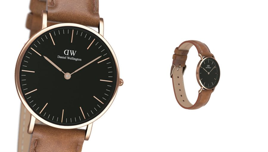 CGI Daniel Wellington brown strap black face watches
