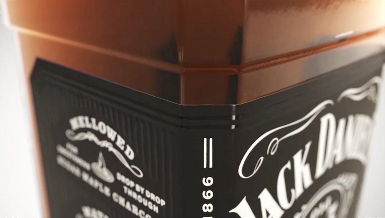 A CGI Jack Daniels bottle closeup